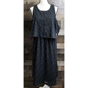 MOSSIMO Black Polka Dot Cold Shoulder Dress XL